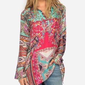 Johnny Was Meco Tunic Patchwork Top